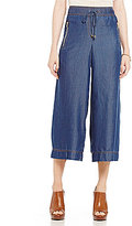 Jones New York Silky Tencel Denim Wide-Leg Cropped Pants