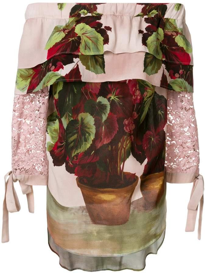 Antonio Marras floral print off shoulder blouse