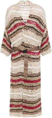Brunello Cucinelli Sequin-embellished Striped Open-knit Cotton-blend Cardigan