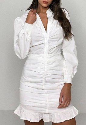 Missguided White Cotton Poplin Ruched Front Shirt Mini Dress