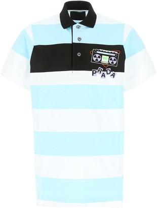 Prada Graphic Printed Striped Polo Shirt