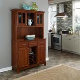 Home Styles Three-Drawer 44 in. W Cherry Buffet with Cherry Wood Top and Hutch