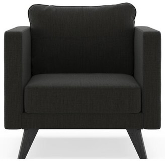 Corrigan Studio Criner Armchair Fabric: Espresso Polyester Blend, Leg Color: Black
