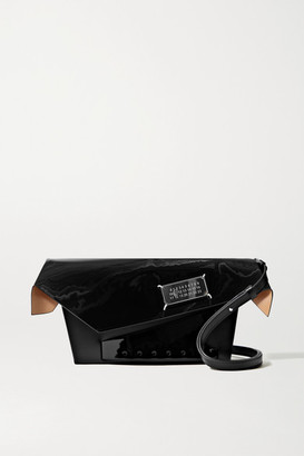 Maison Margiela Snatched Embellished Patent-trimmed Leather Shoulder Bag - Black