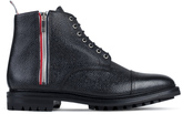 Thom Browne Pebble Grain Leather Side Zip Toe Cap Boots with Commando Sole