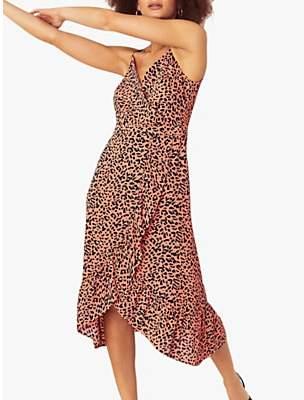 Oasis Leopard Print Midi Dress, Multi/Orange