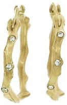 Annette Ferdinandsen Small Coral Branch Hoop Earrings with Diamonds - Yellow Gold