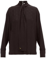 Valentino Tie-neck Logo-jacquard Silk Blouse - Womens - Black
