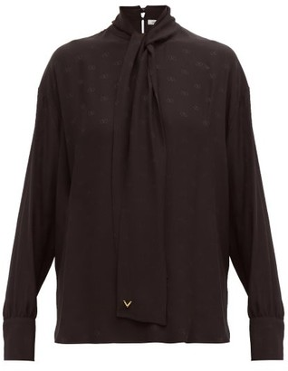 Valentino Tie-neck Logo-jacquard Silk Blouse - Womens - Black