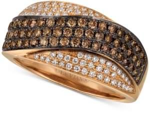 LeVian Le Vian Chocolatier Chocolate Diamond & Vanilla Diamond Statement Ring (3/4 ct. t.w.) in 14k Rose Gold