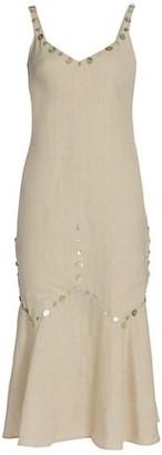 STAUD Mercerie Button Linen Midi Slip Dress