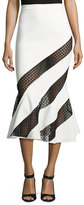 David Koma Cady Flounce-Hem Skirt w/Crocheted Lace, White/Black