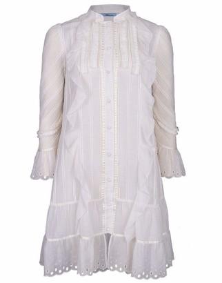 Blumarine Ruffle Front Shirt Dress