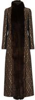 Vanessa Seward Faux Fur-trimmed Metallic Jacquard Coat - Black