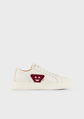 Emporio Armani Leather Sneakers With Emoji Patch