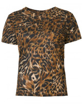 Saint Laurent leopard and feather print T-shirt