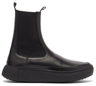Primury Waffle Chunky-sole Leather Chelsea Boots - Black
