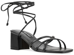 Nine West Meli Block-Heel Tie-Up Sandals Women's Shoes