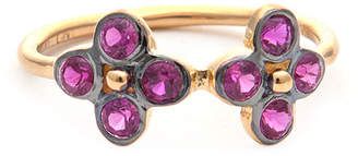 Rivka Friedman Felix And Lola Signature Collection By 18K Gold Clad Silver Ruby Zircon Ring