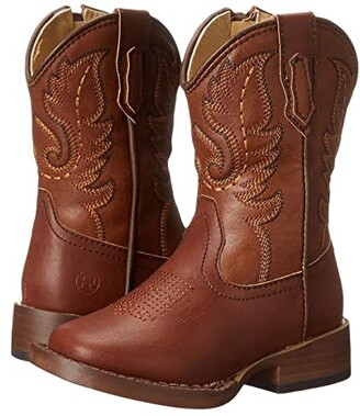 Roper Texson Faux Leather (Toddler) (Brown) Cowboy Boots