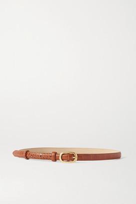 Black & Brown Net Sustain Lou Croc-effect Leather Belt - Tan