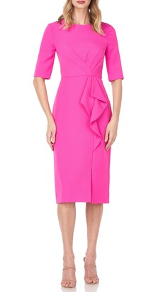 Kay Unger Ruffle Detail Sheath Cocktail Dress