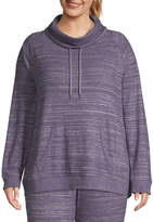 ST. JOHN'S BAY Sjb Active Active-Plus Womens Cowl Neck Long Sleeve Tunic Top
