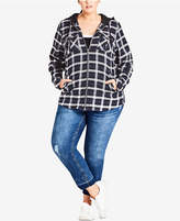 City Chic Trendy Plus Size Hooded Plaid Jacket