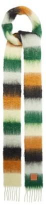 Loewe Logo-tab Striped Fringed Scarf - Green Multi