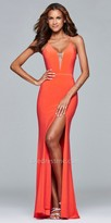 Faviana Plunging High Slit Jersey Prom Dress