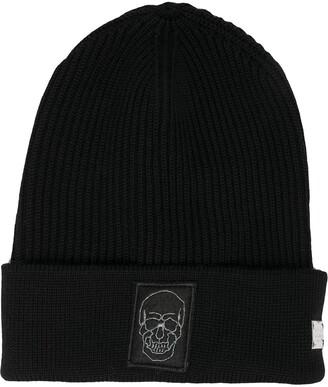 Philipp Plein Skull Logo Patch Beanie Hat