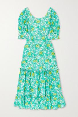 Rixo Kiara Tiered Ruffled Floral-print Silk Crepe De Chine Midi Dress - Green