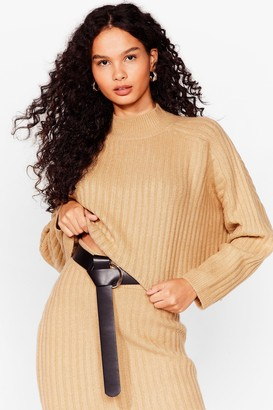 Nasty Gal Womens Tell Me About Knit Ribbed High Neck Sweater - Mushroom