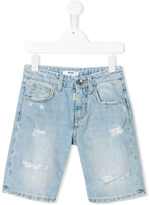 Msgm Kids Distressed Denim Shorts