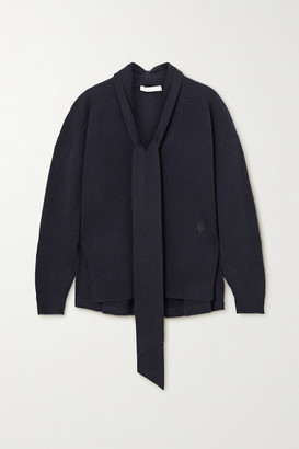 Chloé Tie-detailed Cashmere Sweater - Navy