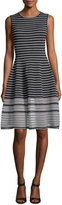 Oscar de la Renta Sleeveless Striped Day Dress