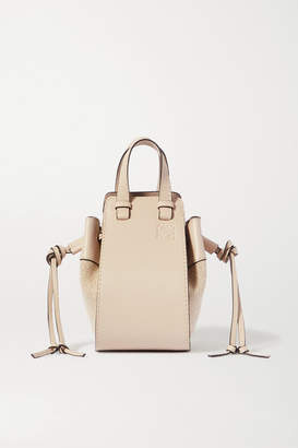 Loewe Hammock Mini Linen And Textured-leather Shoulder Bag - Off-white