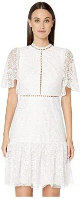 ML Monique Lhuillier Floral Embroidered Mesh Short Sleeve Dress (White) Women's Dress