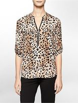 Calvin Klein Womens Animal Print Mandarin Collar Roll-Up Sleeve Top
