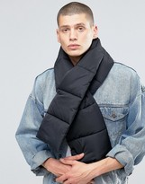 Asos Quilted Scarf In Black