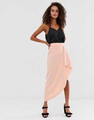 Asos Design DESIGN waterfall wrap pencil skirt-Pink
