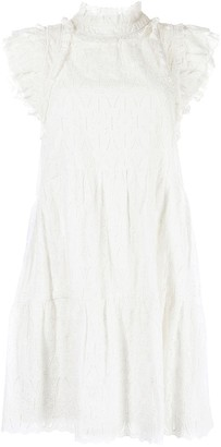 Sea Embroidered Ruffle-Trim Dress