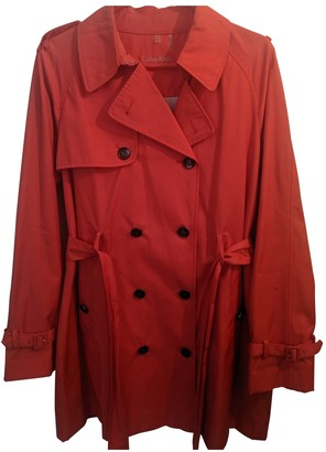 Calvin Klein Red Cotton Trench Coat for Women