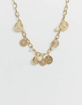 Liars & Lovers coin & pearl chunky collar necklace-Gold
