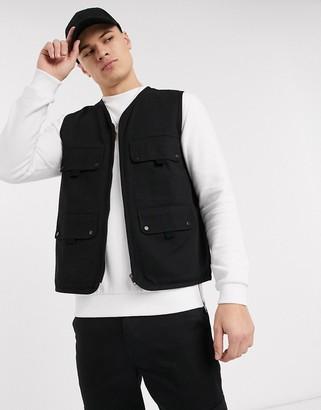 Topman four pocket vest in black