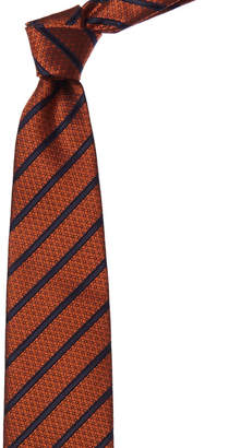 Ermenegildo Zegna Orange & Navy Stripe Silk Tie
