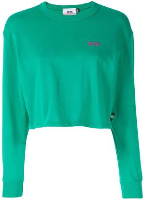 GCDS cropped long-sleeved T-shirt