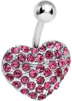 Body Candy Pink Flash of Love Heart Belly Ring