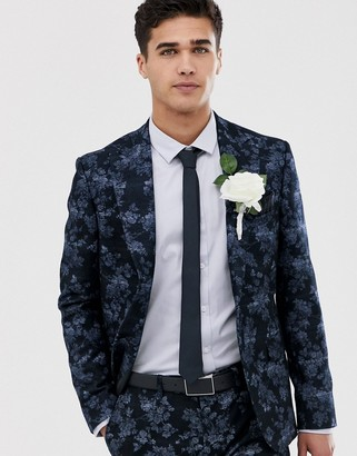 Moss Bros slim fit suit jacket with floral print in navy
