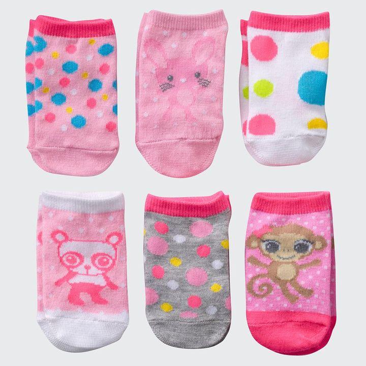 Pink Cookie 6-pk. animal & dot socks - toddler